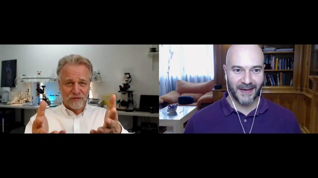 Videoconferencia entre Luciano Damario y el Dr. Andreas Kalcker. Ambos platican sobre los resultados de los ensayos clínicos combatiendo al virus usando Dióxido de Cloro